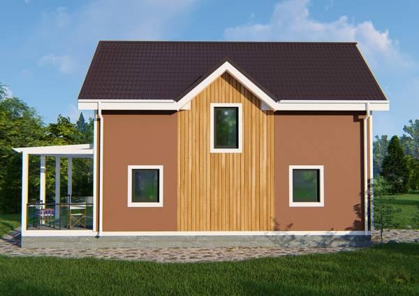 Вид сбоку типового проекта дачного дома Бирево