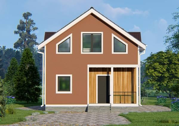 Фасад дачного дома размером 7 на 9 проект Бирево