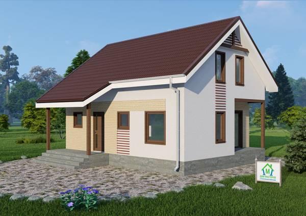 Дачный дом с мансардным этажом проект Бортниково.