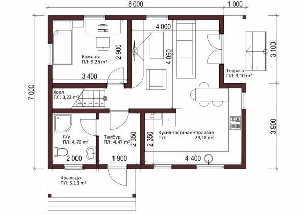 Планировка первого этажа проект Бортниково.