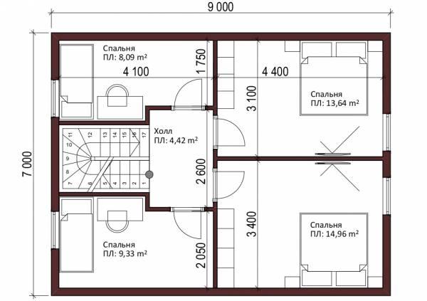 Планировка мансардного этажа типового проекта дачного дома Бортниково.