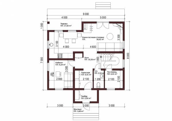 Планировка первого этажа проект Бужарово.