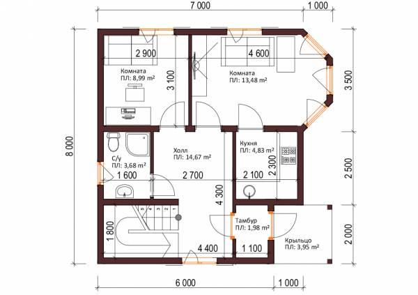 Планировка первого этажа коттеджа проект Колычево.