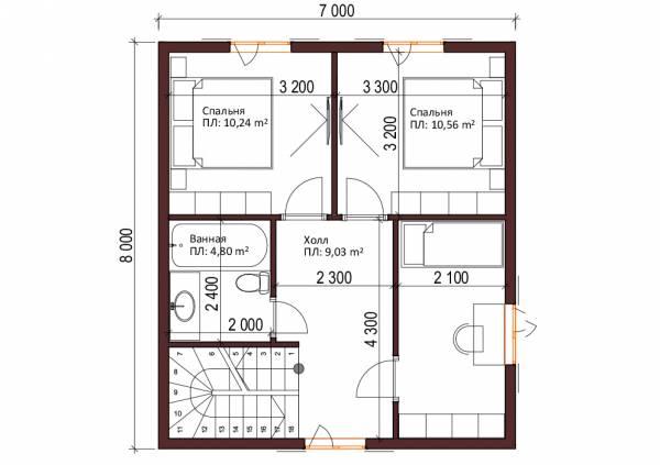 Планировка мансардного этажа Проект Колычево