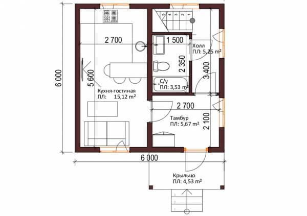 1-ый этаж проект Кошелево дачный дом
