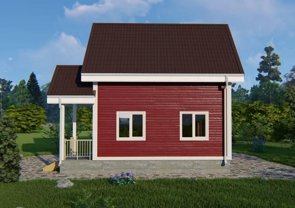 Вид сбоку на дачный дом проекта Кошелево