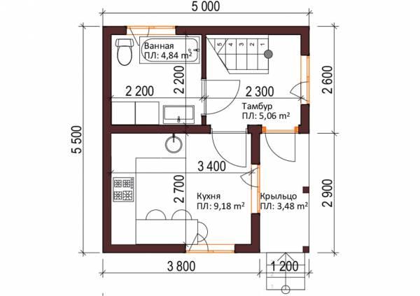 Первый этаж дачного дома по проекту Кузьмино.