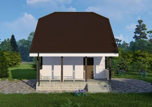 Вид сбоку на дачный дом 6х6 проект Ладыгино