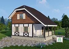Дачный дом Ладыгино проект общий вид на дом 6х6