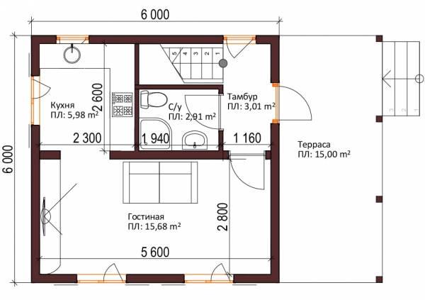 Планировка дачного дома по проекту Ладыгино 1-ый этаж 6х6