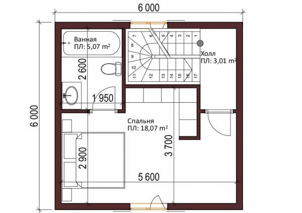 Планировка проекта дачного дома 2-ой этаж Ладыгино 6х6