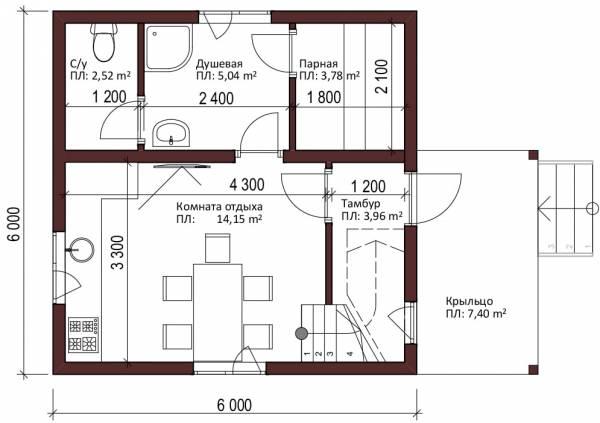 Планировка первого этажа двухэтажной бани 6х6 проект Тимофеево.