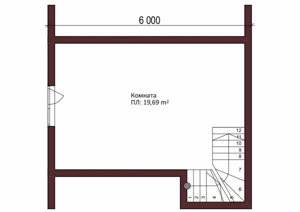 Планировка второго этажа бани 6х6 проект Тимофеево.