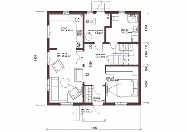 Планировка первого этажа двухэтажного коттеджа Белоозерск.
