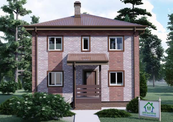Фасад двухэтажного коттеджа 8х8 проект Белоозерск вид на крыльцо.