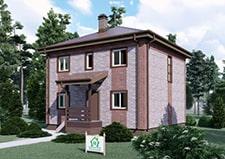 Двухэтажный коттедж 8х8 проект Белоозерск основной вид.