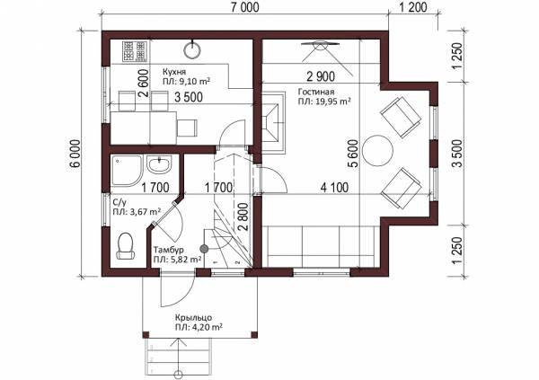 Планировка первого этажа дачного дома проект Буденовец.
