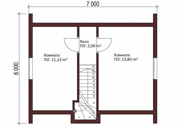 Второй мансардный этаж 6х8 планировка проекта Буденовец.