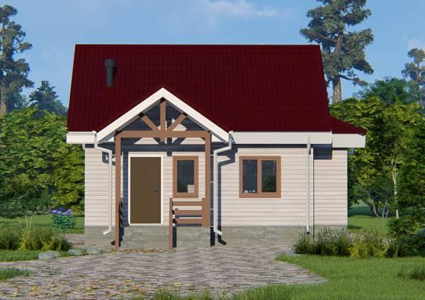 Вид на крыльцо дачного дома 6х8 проект Буденовец.