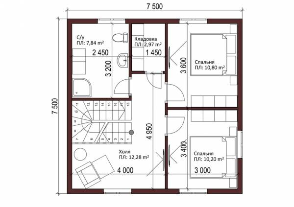 Планировка второй этаж проект коттеджа Деденево 7 на 10 метров.