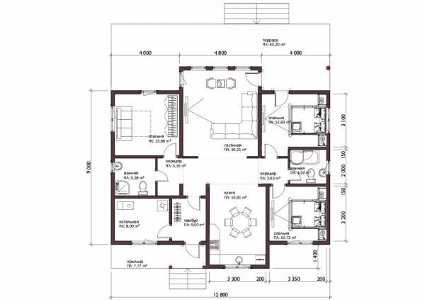 Планировка одноэтажного дачного дома по проекту Кашира