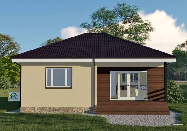 Одноэтажный дом 10 на 10 вид на большое окно проект Суханово