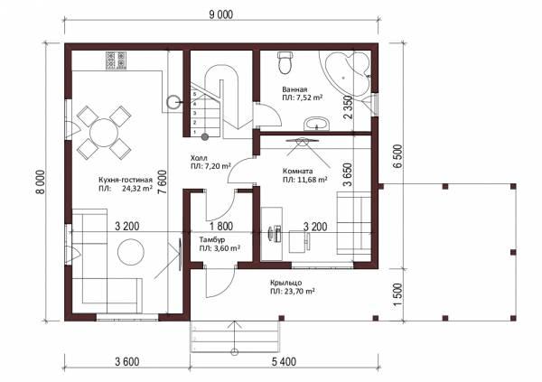 Отличная планировка первого этажа дома 8х9 проект Нахабино.