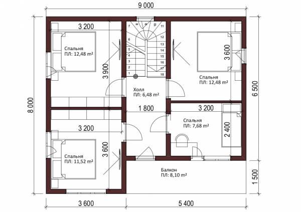 Отличная планировка второго этажа проект Нахабино размер 8х9 м.