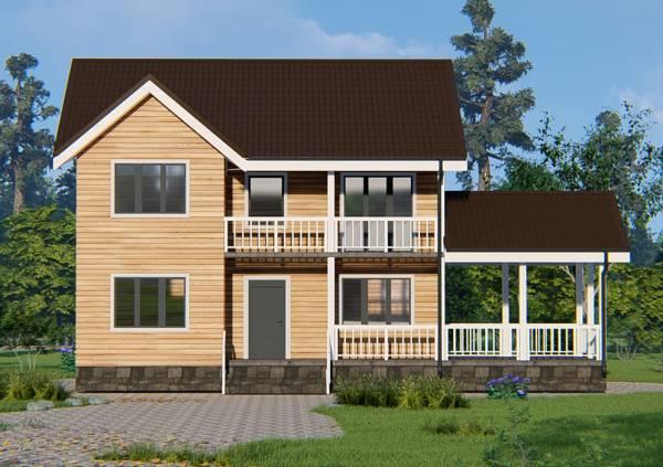 Вид на крыльцо и балкон дома 8х9 визуализация проекта Нахабино.