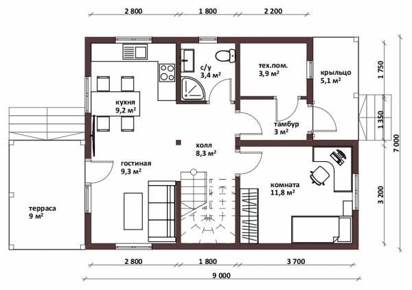 Отличная планировка первого этажа дачного дома 7х9 проект Хорлово.