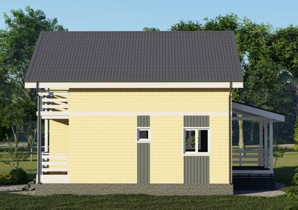 Проект дачного дома Хорлово вид сбоку размер дома 7х9 метров.