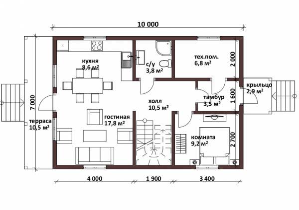 Планировка первого этажа коттеджа Лесной размером 7 на 10 метров.