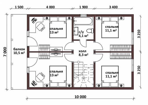 Планировка второго этажа коттеджа 7х10 проект Лесной.