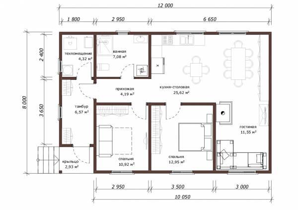 Отличная планировка дома в один этаж размер 8х12 проект Добрыниха.