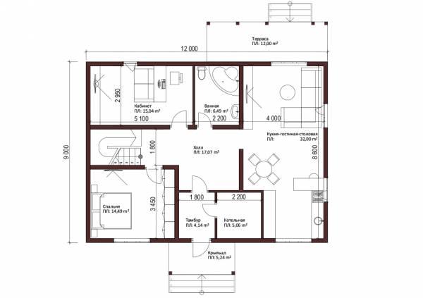 Планировка дома 9х12 первый этаж проект коттеджа Мелихово.