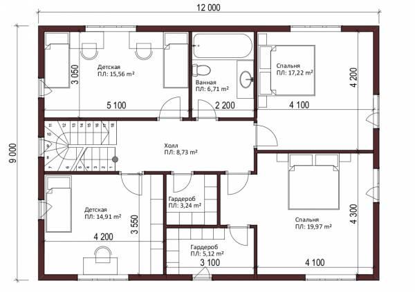Отличная планировка мансардного этажа дома 9х12 проект Мелихово.