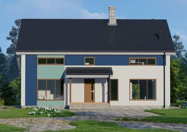 Фасад дома 9х12 проект коттеджа Мелихово - крыльцо.