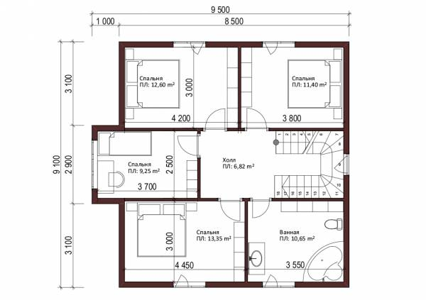 Планировка мансардного этажа в доме размером 9х9 проект Талеж.
