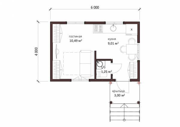 Планировка маленького дома проект Якшино размер 24 кв.м. отличная планировка.