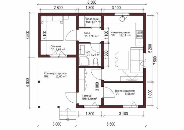Отличная планировка одноэтажного дачного дома 7,5 на 8,5 метров проект Луч.
