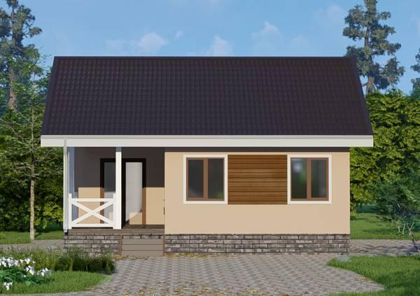 Вид на фасад одноэтажного дачного дома проект Луч.