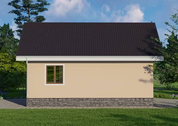 Северная стена одноэтажного дачного дома проект Луч.