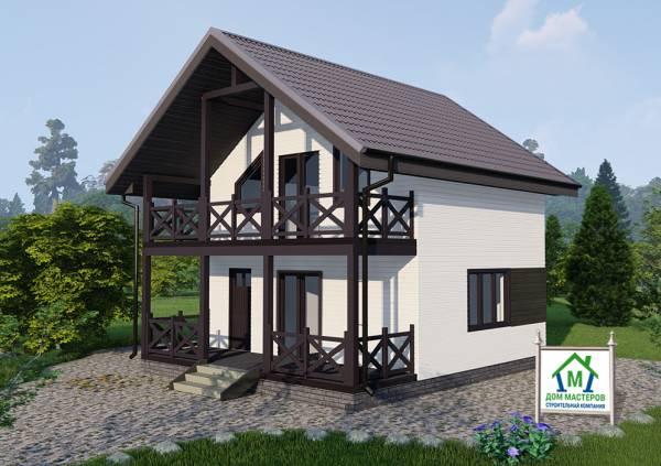 Вид на дачный дом с мансардным этажом проект Любучаны размер 5,5 на 7 метров.