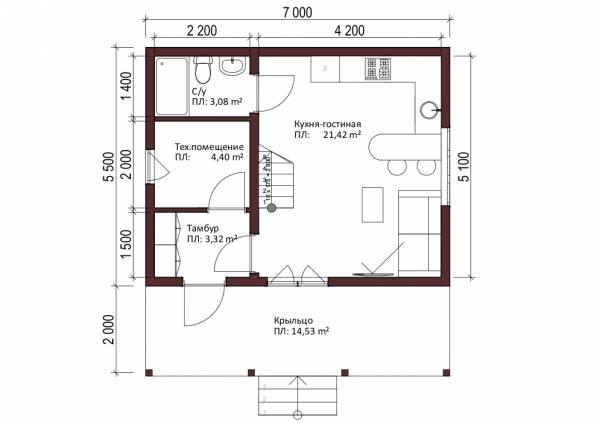 Отличная планировка дачного дома 5,5 на 7 метров проект Любучаны.
