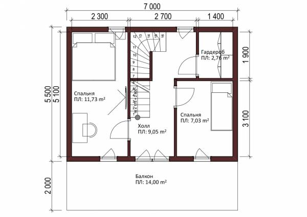 Планировка мансардного этажа дома 5,5 на 7 м проект Любучаны.