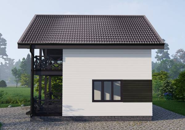 Вид сбоку двуцветный фасад дачного дома проект Любучаны.