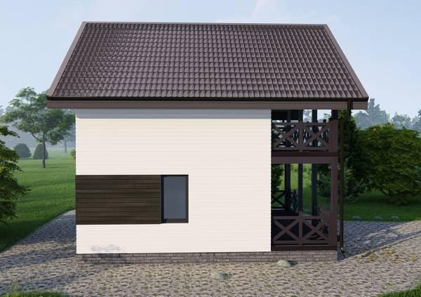 Фасад из двух цветов в дачном дома пример из проекта Любучаны.
