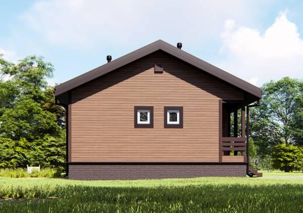 Северная стена дачного одноэтажного дома проект Панино фото.