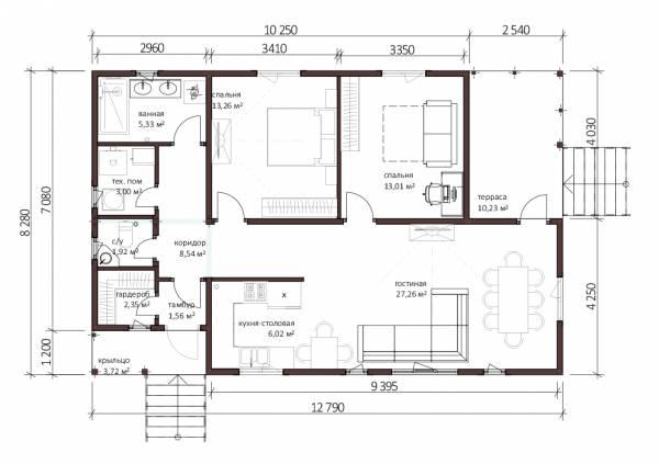 Планировка одноэтажного дачного дома проект Панино.