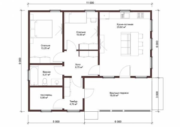 Отличная планировка дачного одноэтажного дома проект Детково.